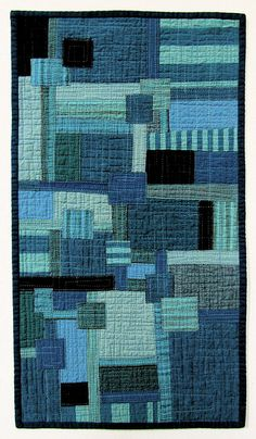 boro blues # 2 - stitched patched and quilted wall hanging by victoria gertenbach