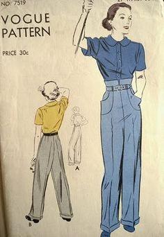 High waist 1930s pants