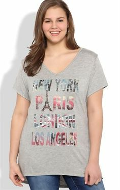Deb Shops Plus Size High Low Tee with Cities Screen