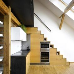 Staircase to Loft with Built-in Kitchen Appliances