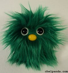 """4"""" Coodle - Green Furry Monster Plush. $10.00, via Etsy."""