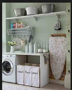 To get this Fresh + Clean look, use YOLO Colorhouse GLASS .02 utility room organization, decor, utility room], ironing boards, new houses, utility room ideas, util room, iron board, utility rooms