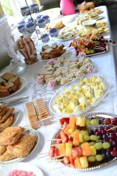 Tea party birthday finger food. Jessica Workman I could make fruit kabobs