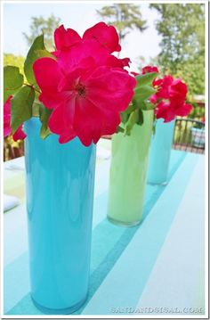 DIY Painted Glass Vases. This is the first method I've seen that allows for water to be used in the vase. It's even dishwasher safe!