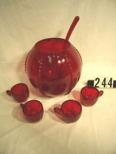 (14) PC. RUBY GLASS PUNCH BOWL SET