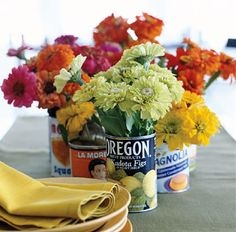 zinnia, recycled cans, flower centerpieces, color, vintage tins, tin cans, fresh flowers, old tins, diy centerpieces