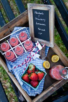 Rhubarb and Strawberry Lemonade