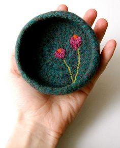 Felted wool crochet bowl