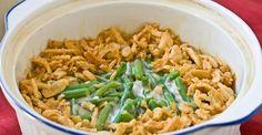crock pot Green Bean Casserole  2 10 oz. bags frozen green beans  1 14.8 oz. can cream of mushroom soup  1/3 c. milk or soy milk  1/4 tsp. salt  1/4 tsp. black pepper  1 2.8 oz. can French-fried onions
