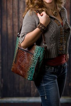 Aqua & Brown Concealed-Carry Purse