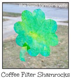 Coffee Filter Shamrocks