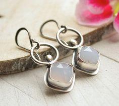 Purple+Chalcedony+Earrings.+Sterling+Silver.+Modern+by+EONDesign,+$90.00