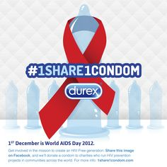 #causemarketing In honor of this day of global awareness, Durex, a leading authority on sexual wellbeing is joining the fight against HIV and AIDS by donating one condom for every person who gets involved in its #1Share1Condom social media campaign leading up to World AIDS Day on December 1st. contr le, share, hiv, condom donat, social media, condom campaign, durex condom, aid, réseaux sociaux