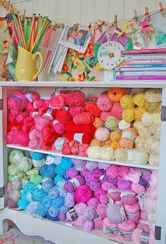 Heart Handmade UK: Bright Colourful Craft Room | Knitting and Crochet Yarn Storage from Rosehip