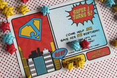 Cute superhero party idea, i might have used less of the superman shape. Loved the wall coloring! if they stay in the lines..... ;)
