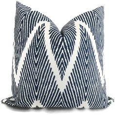 Indigo Blue Ikat Chevron Decorative Pillow Cover, 18x18, 20x20, 22x22 or lumbar pillow Throw Pillow, Accent Pillow, Toss Pillow