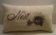 Graphic transfer pillow.  Love this!  I have some leftover burlap that needs a new life!
