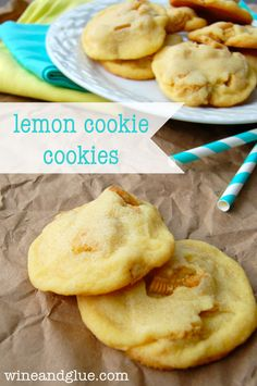 Lemon Cookie Cookies!!  Lemon Pudding Cookies that use chunks of Oreo instead of chips for a delicious lemon flavor and super simple cookie!