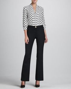elenore polka-dot top & daylin pyramid-button trousers  by kate spade new york at Neiman Marcus.