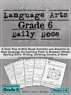 If you're looking for an extensive, spiraling, language arts resource to help your students be lifelong learners, than you have come to right place. Language Arts Daily Dose Grade 6 is designed to teach a skill over 5 days with the student asked to do more each day. This gentle scaffold approach makes this resource student and teacher friendly, making it possible for even reluctant workers to feel success.($)
