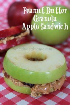 granola appl, appl sandwich, apple snack recipes, kid snacks, perfect snack, lunch, peanut butter, sandwiches for kids