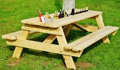 Beer Gutter Picnic Table - $150    This thing is GENIUS. beer, bar tables, cape, summer parties, picnic tables, farm tables, outdoor tables, outdoor gardens, backyards