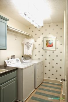 Laundry room makeover featuring cabinets painted with chalk-based Country Chic Paint