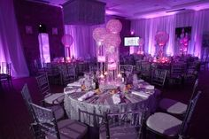 Nighclub / Lounge Bat Mitzvah & Party Theme - Radiant Orchid Bat Mitzvah Centerpieces, Pink, Purple, Bling {SBZ Events} - www.mazelmoments.com/blog/19023/lounge-club-nightclub-theme-ideas-bar-bat-mitzvah-party-sweet-16/