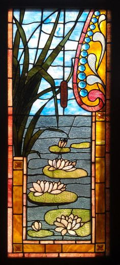 Antique American Stained Glass Windows - lilly pads and reeds