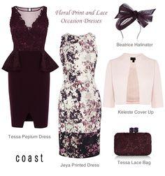 Floral Print Shift Jeya Dress Tessa Peplum Dress Matching lace clutch and fascinator. Pink cover-up bolero jacket