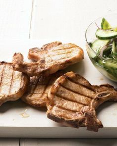 Grilled Pork Chops with Cucumber-Dill Salad Recipe