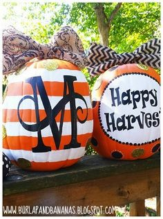 Decorate with Preppy Faux Fall Pumpkins! - BeBetsy - shared by @risarina #pumpkins #halloween #orange #black