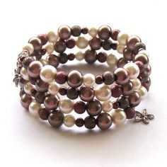 Brown and Ivory Glass Pearl Memory Wire Bracelet