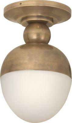 "Circa, Clark Ceiling Light # TOB4006 $399 Height: 12 3/4"" Width: 7 1/2"" Base: 7 1/2"" Round, 1x75 Watt, wet locations ok, Hand-Rubbed Antique Brass"