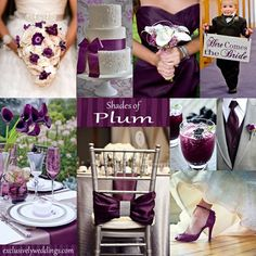 Plum Wedding Color - Plum is a great wedding color, especially for fall and winter weddings. It can be paired with silver, gray, gold, green and more!   #exclusivelyweddings