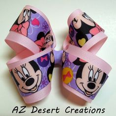 Boutique Light Pink Bow Made with Minnie Mouse Ribbon | DesertCreations - Accessories on ArtFire