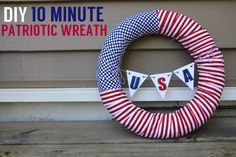 Super easy DIY Red, White, & Blue Patriotic Wreath for the 4th of July by Hannah @ Lovely Little Life. #diy #patriotic #4thofjuly #wreath