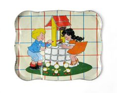 Vintage JACK and JILL Tin Tray.