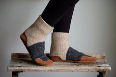 Wool Slipper Socks Leather Soles Eco Friendly Women by WoolyBaby slippers, sock leather, dream closet, fashion wishlist, wool slipper, sole slipper, slipper sock, friend women, leather sole