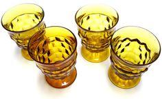 Set of 4 Golden Amber Drinking Glasses from Vintage Indiana Glass Co. #vintage #glasses #amber