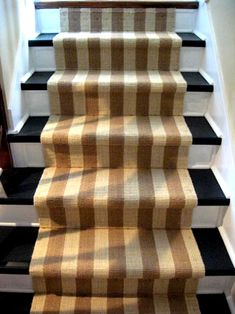 stair runner idea - not the same colors, but something for our slippery stairs to the basement
