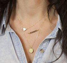 Layered Gold Necklace Set // Minimal, Gold Geometric Necklaces // 14K Gold Fill Delicate Gold Necklaces with Gemstones