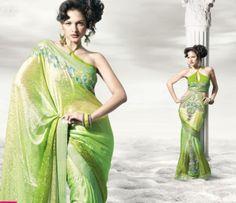 Pastel green sari