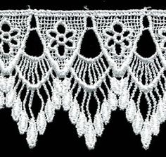 "Venise Lace 2.5"" - Isabella White - By the Yard"