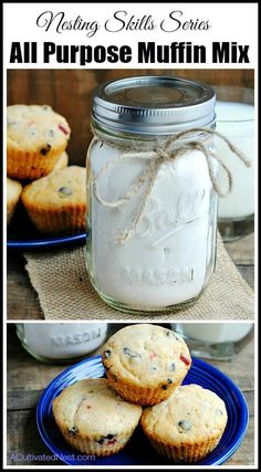 All Purpose Homemade Muffin Mix Recipe- Replace your store bought muffin mixes. You'll save money & it's healthier for you. No weird ingredients, plus you can add in whatever you like - fruit, chocolate chips, nuts, anything!