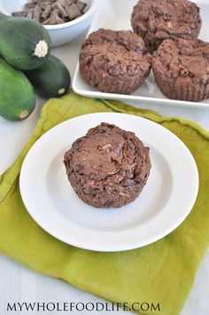 Chocolate Zucchini Muffins.  A healthy chocolate muffin that is oil free and comes with a hidden serving of veggies! #vegan #glutenfree #zucchini #healthyrecipe #muffins