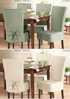 Dining Chair Slip Covers - easy update for your dining table for an upscale Easter Gathering for very little cost