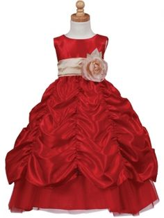 Check out the deal on Red Gathered Taffeta Full Length Dress - 3T at Adorable Baby Clothing $49.95