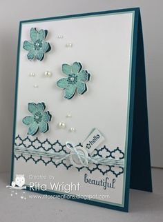 Stamps: Summer Silhouettes, Tiny Tags, Fabulous Phrases Ink: Island Indigo, Pool Party Paper: Island Indigo, Pool Party, Whisper White Accessories: Basic Pearls, Pool Party Baker's Twine, Neutrals Designer Buttons Tools: Jewelry Tag Punch, Paper Snips