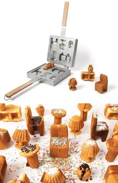 waffle maker that creates tiny pieces of furniture. my girls would have way too much fun with this